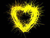 Sparkling heart. Fireworks on black background Royalty Free Stock Photo