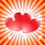 Sparkling heart. Beautiful bright background with two sparkling hearts Royalty Free Stock Photos
