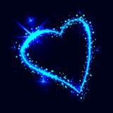 Sparkling heart on dark background Stock Photo