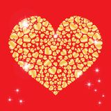 Sparkling heart with many small hearts inside . Element for design. Vector illustration for Valentines Day. Love concept. Cute hap Stock Images
