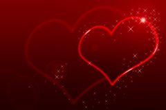 Sparkling  heart on the red background Royalty Free Stock Photo
