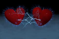 Sparkling hearts royalty free stock photo