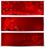 Sparkling hearts banners vector Stock Image