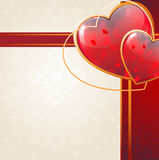 Sparkling hearts and ribbon Stock Image