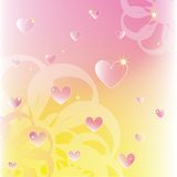 Sparkling hearts on soft color flowers background Royalty Free Stock Images