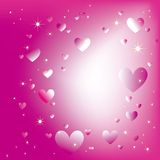 Sparkling hearts stars on magenta light burst Stock Image