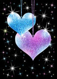 Sparkling hearts. Valentine's Day card with blue and violet glittery hearts hanging on strings and sparkling stars over black background stock illustration