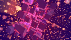 Sparkling Holographic Abstact Pink Cubes. Cyberspace 3d illustration of glowing pink cubes keeping together as a macrostructure in the dark violet background vector illustration