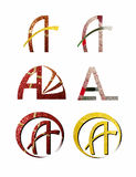 Sparkling A letters. Set of six sparkling A letters royalty free illustration
