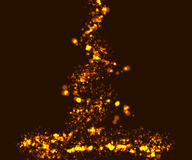 Sparkling light effects on dark background. Shiny and glitter gold particles Stock Photography