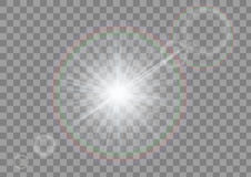 Sparkling light with flares on transparent background. White sparkle isolated. Stock Photography