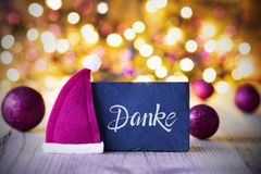 Sparkling Lights, Ball, Purple Santa Hat, Danke Means Thank You