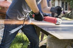 Free Sparkling Lights Of Work With Angle Grinder Machine - Cutting Metal Stock Photos - 157077413