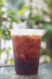 Sparkling Nitro Cold Brew Coffee. On table outdoor cafe ready to drink Stock Photography