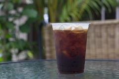 Sparkling Nitro Cold Brew Coffee. On table outdoor cafe ready to drink Stock Image