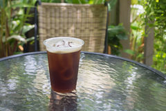 Sparkling Nitro Cold Brew Coffee. On table outdoor cafe ready to drink Royalty Free Stock Photos