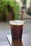 Sparkling Nitro Cold Brew Coffee. On table outdoor cafe ready to drink Royalty Free Stock Image