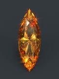 Sparkling orange gem marquise shape. Isolated unset gemstone shining deep ember glare. Cat eye (pointed oval) shaped diamond Royalty Free Stock Photo