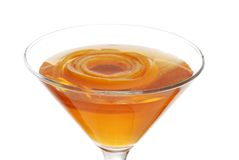 Sparkling Orange Martini With Peel Floating Focus Royalty Free Stock Image