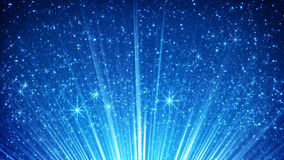 Sparkling particles in blue light rays. Computer generated abstract background Stock Photos