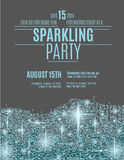 Sparkling party flyer template design. Retro styled sparkling glitter flyer invitation template royalty free illustration