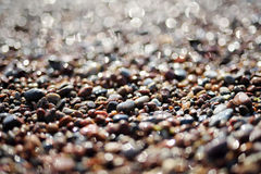 Sparkling pebbles on a beach. Sparkling wet pebbles on a beach Stock Photo