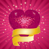 Sparkling pink valentine heart and banner Stock Image