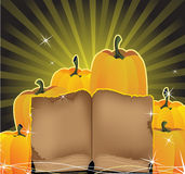 Sparkling pumpkins and the old book Stock Photography
