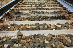 Sparkling railway track, close up Stock Photos