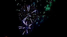 Sparkling red green yellow celebration fireworks over starry sky. Independence Day, 4th of July, New Year stock footage