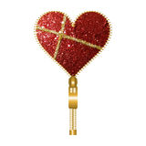 Sparkling red heart shaped zip. Heart shaped zip filled with sparkling red and golden texture on a white background vector illustration