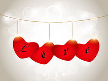 Sparkling red heart shapes Stock Photo