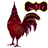 Sparkling Red Rooster full face. Symbol 2017 by Eastern Japan the Chinese lunar calendar. Isolated on white background. Royalty Free Stock Images