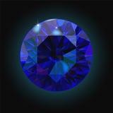 Sparkling sapphire on black background. Dark blue crystal. Vector Stock Images