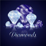 Sparkling sapphires and diamonds on a reflective surface Royalty Free Stock Image