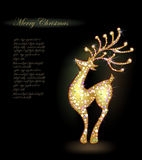 Sparkling Silhouette of reindeer against the dark  Royalty Free Stock Image