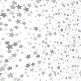Sparkling silver stars background, christmas light grey confetti. Falling. magic shining Flying stars on night sky glitter cosmic backdrop, sparkle border Stock Illustration