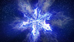 Sparkling Snowflake and Falling Snow stock video footage