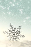 Sparkling snowflake in the snow. With white snowflakes Royalty Free Stock Images