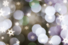 Sparkling snowflakes on circle bokeh. Represent winter, joy of christmas and new year Stock Image