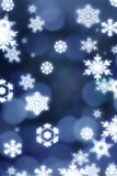 Sparkling snowflakes on circle bokeh. Represent winter, joy of christmas and new year Royalty Free Stock Photography