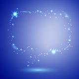 Sparkling speech bubble on sapphire background Royalty Free Stock Images
