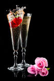 Sparkling splashing wine and roses Royalty Free Stock Image