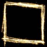 Sparkling square sketch frame. Square sketch frame made of sparkler. Isolated on a black background royalty free illustration
