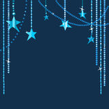 Sparkling star curtain. Dark blue background with glowing and sparkling stars Royalty Free Stock Photography