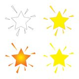 Sparkling Stars. Four sparkling stars with different shading and colour options Stock Photos