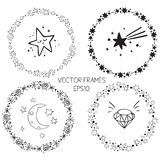 Set of vector graphic circle frames. Wreaths for design, logo template. Stardust, stars, starry sky. Sparkling stars background, silver christmas lights corner Royalty Free Stock Image