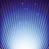 Sparkling stars on blue light burst Stock Photos