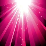 Sparkling stars descending on magenta light burst. Background Royalty Free Stock Photo