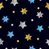 Sparkling stars seamless pattern. Vector background with doodle blue, silver and gold stars and dots Stock Photo